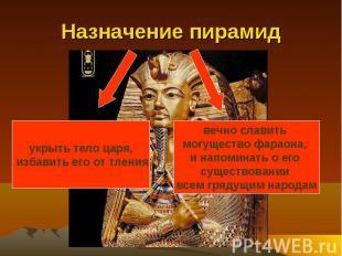 Назначение пирамид укрыть тело царя, избавить его от тлениявечно славить могущес