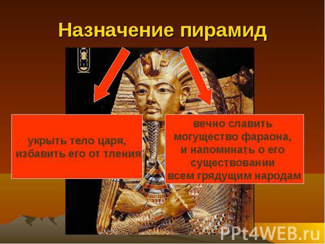 Назначение пирамид укрыть тело царя, избавить его от тлениявечно славить могущество фараона, и напоминать о его существовании всем грядущим народам