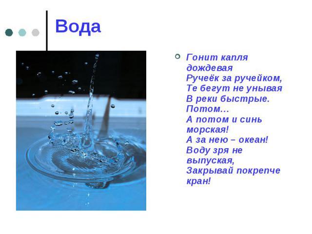 Вода Гонит капля дождевая Ручеёк за ручейком, Те бегут не унывая В реки быстрые. Потом… А потом и синь морская! А за нею – океан! Воду зря не выпуская, Закрывай покрепче кран!