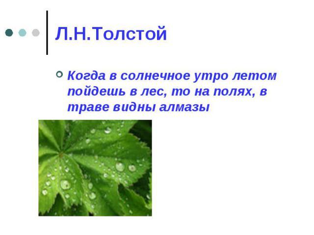 Л.Н.Толстой Когда в солнечное утро летом пойдешь в лес, то на полях, в траве видны алмазы
