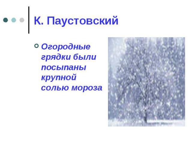 К. Паустовский Огородные грядки были посыпаны крупной солью мороза