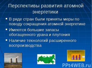 Перспективы развития атомной энергетики В ряде стран были приняты меры по поводу