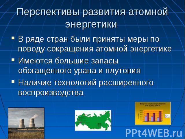 Перспективы развития атомной энергетики В ряде стран были приняты меры по поводу сокращения атомной энергетикеИмеются большие запасы обогащенного урана и плутонияНаличие технологий расширенного воспроизводства