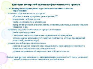 Критерии экспертной оценки профессионального проекта 1. Условия реализации проек
