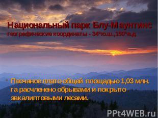 Национальный парк Блу-Маунтинсгеографические координаты - 34°ю.ш.,150°в.д. Песча