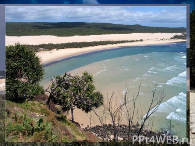 Остров ФрейзерГеографические координаты - 34°ю.ш., 143°в.д. Остров Фрейзер расположен у Восточного побережья Австралии.Это самый большой остров в мире песчаный остров длиной 122 км.