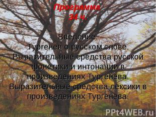 Программа 34 ч.Введение.Тургенев о русском слове.Выразительные средства русской