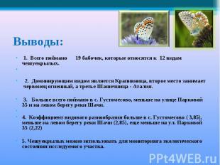 Выводы: 1. Всего поймано 19 бабочек, которые относятся к 12 видам чешуекрылых. 2