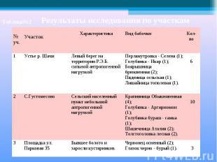 Таблица№2Результаты исследования по участкам