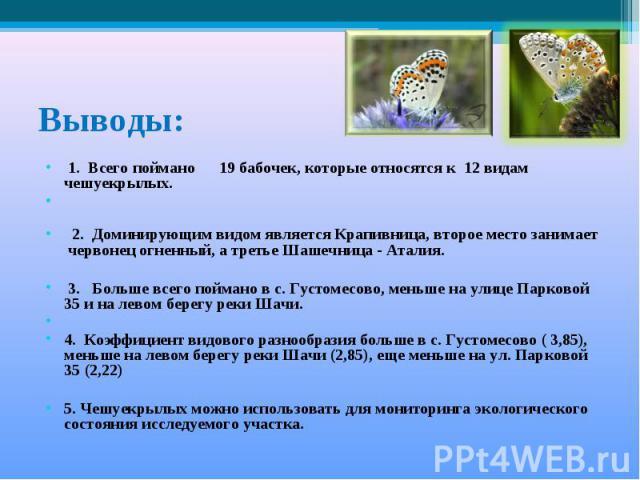 Выводы: 1. Всего поймано 19 бабочек, которые относятся к 12 видам чешуекрылых. 2. Доминирующим видом является Крапивница, второе место занимает червонец огненный, а третье Шашечница - Аталия. 3. Больше всего поймано в с. Густомесово, меньше на улице…