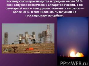 Космодромом производится в среднем около 50 % всех запусков космических аппарато