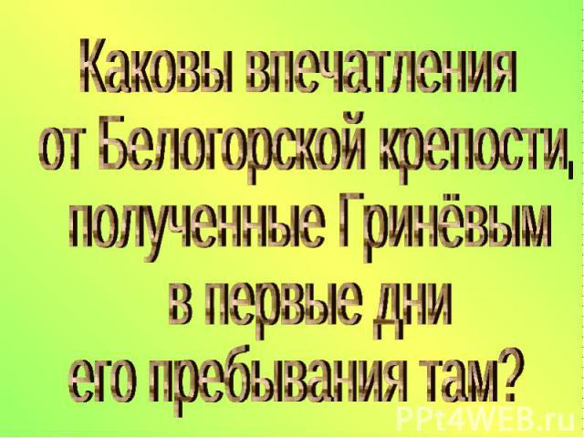 Каковы впечатления от Белогорской крепости, полученные Гринёвым в первые дни его пребывания там?