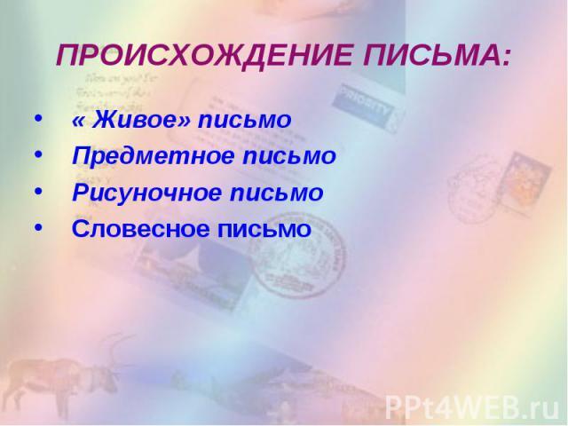 ПРОИСХОЖДЕНИЕ ПИСЬМА: « Живое» письмоПредметное письмоРисуночное письмо Словесное письмо