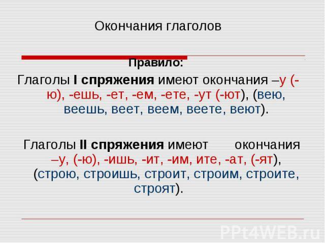 Окончания глаголов Правило: Глаголы I спряжения имеют окончания –у (-ю), -ешь, -ет, -ем, -ете, -ут (-ют), (вею, веешь, веет, веем, веете, веют). Глаголы II спряжения имеют окончания –у, (-ю), -ишь, -ит, -им, ите, -ат, (-ят), (строю, строишь, строит,…