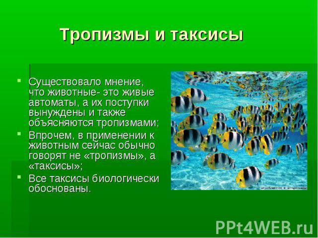 Тропизмы и таксисы Существовало мнение, что животные- это живые автоматы, а их поступки вынуждены и также объясняются тропизмами; Впрочем, в применении к животным сейчас обычно говорят не «тропизмы», а «таксисы»;Все таксисы биологически обоснованы.