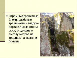 Огромные гранитные блоки, разбитые трещинами и гладкие вертикальные стены скал,