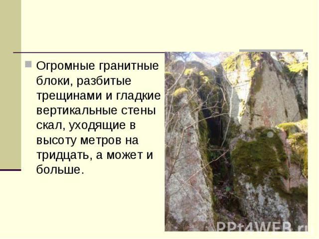 Огромные гранитные блоки, разбитые трещинами и гладкие вертикальные стены скал, уходящие в высоту метров на тридцать, а может и больше.