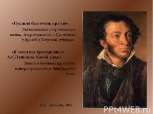 «Пушкин был очень красив».Воспоминания современницы поэта, встречавшейся с Пушки