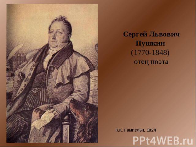 Сергей Львович Пушкин (1770-1848) отец поэта К.К. Гампельн, 1824