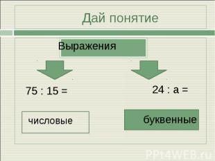 Дай понятие Выражения 75 : 15 = числовые24 : а =буквенные