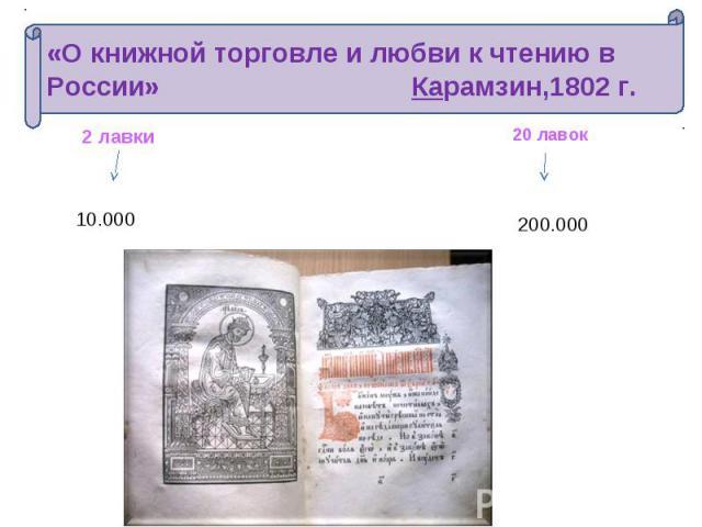 «О книжной торговле и любви к чтению в России» Карамзин,1802 г.