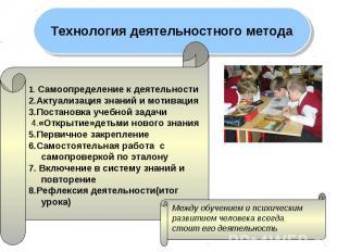 Технология деятельностного метода 1. Самоопределение к деятельности2.Актуализаци