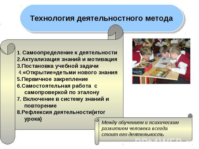 Технология деятельностного метода 1. Самоопределение к деятельности2.Актуализация знаний и мотивация 3.Постановка учебной задачи 4.«Открытие»детьми нового знания 5.Первичное закрепление6.Самостоятельная работа с самопроверкой по эталону 7. Включение…