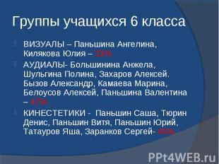 Группы учащихся 6 класса ВИЗУАЛЫ – Паньшина Ангелина, Килякова Юлия – 13%АУДИАЛЫ