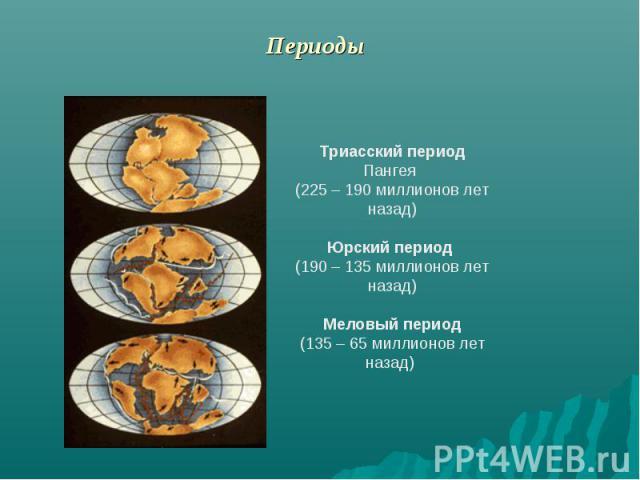 Периоды Триасский периодПангея (225 – 190 миллионов лет назад)Юрский период (190 – 135 миллионов лет назад)Меловый период(135 – 65 миллионов лет назад)