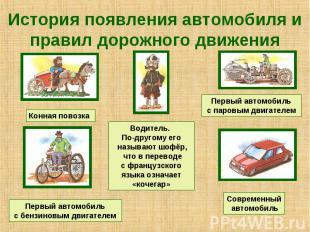 История появления автомобиля и правил дорожного движения Водитель. По-другому ег