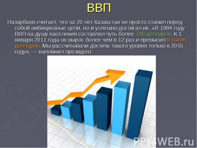 ВВП Назарбаев считает, что за20 лет Казахстан непросто ставил перед собой амбициозные цели, нои успешно достигал их. «В 1994 году ВВП надушу населения составлял чуть более 700 долларов. К 1 января 2011 года он вырос более чем в12 раз ипревысил…