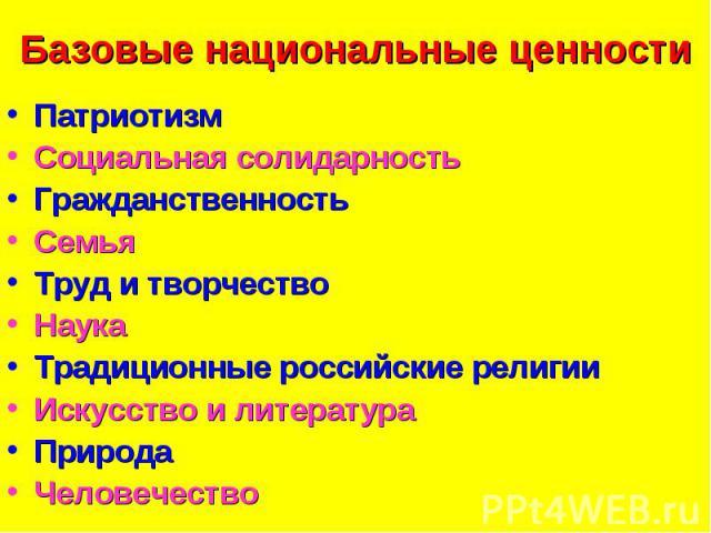 Базовые национальные ценности ПатриотизмСоциальная солидарностьГражданственностьСемьяТруд и творчествоНаукаТрадиционные российские религии Искусство и литератураПриродаЧеловечество