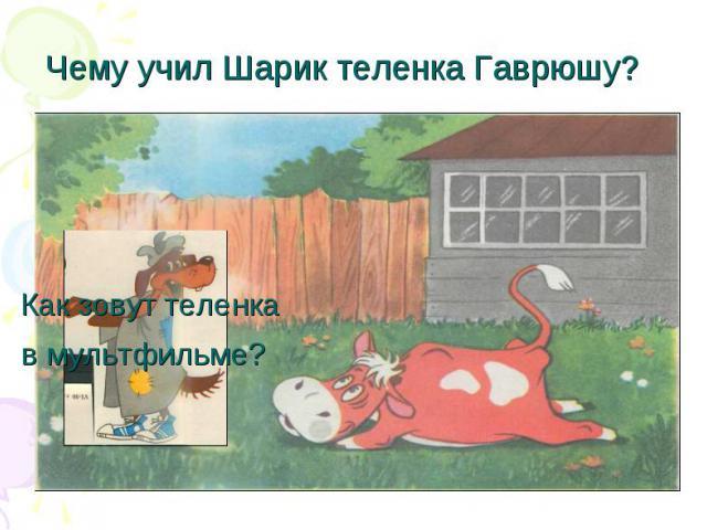 Чему учил Шарик теленка Гаврюшу? Как зовут теленка в мультфильме?