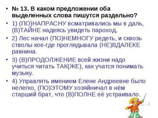 № 13. В каком предложении оба выделенных слова пишутся раздельно?1) (ПО)НАПРАСНУ