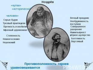 Собакевич Ноздрёв«кулак» «исторический человек» Серые будниТрезвый практицизм Пр