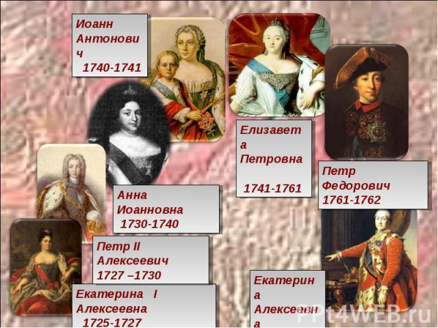 Иоанн Антонович 1740-1741 Елизавета Петровна 1741-1761 Петр Федорович 1761-1762 Анна Иоанновна 1730-1740 Петр II Алексеевич 1727 –1730 Екатерина I Алексеевна 1725-1727Екатерина Алексеевна 1762-1796