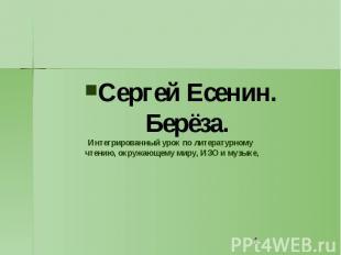 Сергей Есенин. Берёза. Интегрированный урок по литературному чтению, окружающему