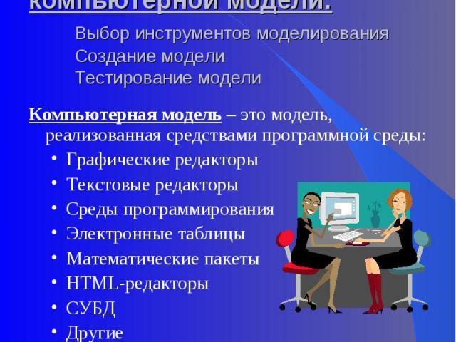 III этап. Разработка компьютерной модели:Выбор инструментов моделированияСоздание моделиТестирование модели Компьютерная модель – это модель, реализованная средствами программной среды:Графические редакторыТекстовые редакторыСреды программированияЭл…
