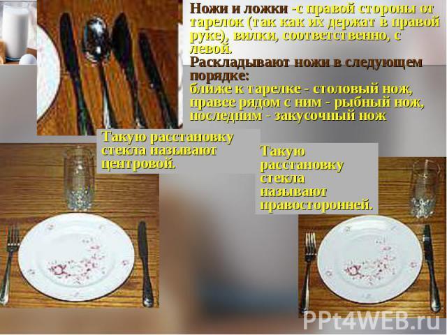 Ножи и ложки -с правой стороны от тарелок (так как их держат в правой руке), вилки, соответственно, с левой. Раскладывают ножи в следующем порядке: ближе к тарелке - столовый нож, правее рядом с ним - рыбный нож, последним - закусочный ножТакую расс…