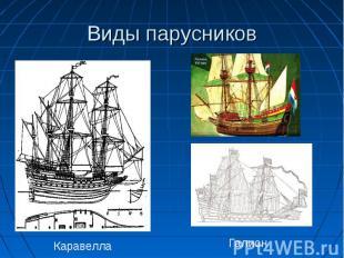 Виды парусников КаравеллаГалион