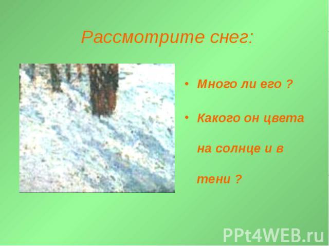 Рассмотрите снег: Много ли его ?Какого он цвета на солнце и в тени ?