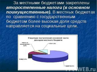 За местнымибюджетамизакреплены второстепенные налоги (в основном поимущественн