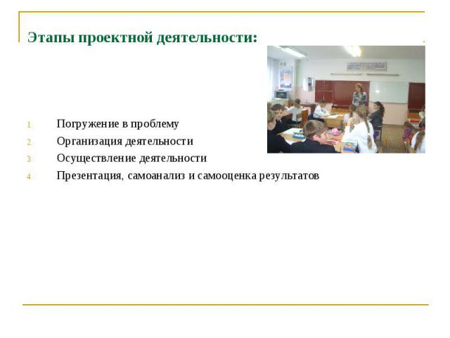 Этапы проектной деятельности: Погружение в проблему Организация деятельности Осуществление деятельности Презентация, самоанализ и самооценка результатов
