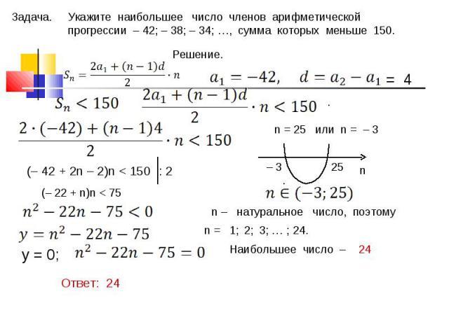 Укажите наибольшее число членов арифметической прогрессии – 42; – 38; – 34; …, сумма которых меньше 150.