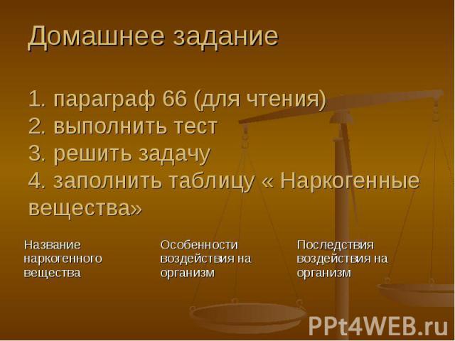Домашнее задание1. параграф 66 (для чтения)2. выполнить тест3. решить задачу4. заполнить таблицу « Наркогенные вещества»