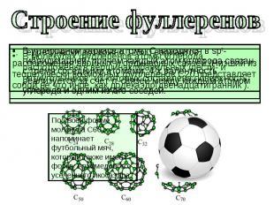 Строение фуллеренов По своей форме молекула С60 напоминает футбольный мяч, котор
