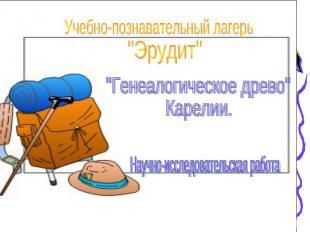 """Учебно-познавательный лагерь""""Эрудит""""""""Генеалогическое древо"""" Карелии.Научно-иссле"""