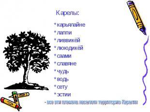 Карелы: *карьялайне*лаппи*ливвикёй*лююдикёй*саами*славяне*чудь*водь*сету*эстии -