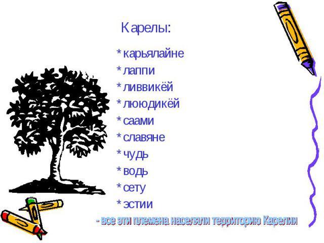 Карелы: *карьялайне*лаппи*ливвикёй*лююдикёй*саами*славяне*чудь*водь*сету*эстии - все эти племена населяли территорию Карелии.