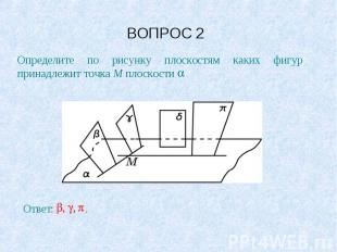 ВОПРОС 2 Определите по рисунку плоскостям каких фигур принадлежит точка M плоско